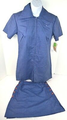 Vtg 1970's One-Piece Shorts Romper w/ Matching Skirt, Blue/Red Stitching 9/10