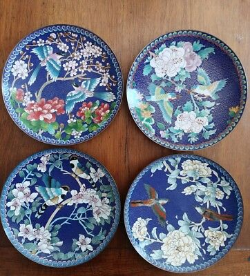 Set of Four Chinese Cloisonne Winged Jewels CHING-T'AI-LAN Collector Plates
