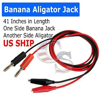 Pair Test Hook Clip to Straight Banana Plug Connector Lead Cable 1M New