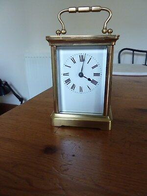A Victorian Timepiece Brass Cased Carriage Clock With Lever Escapement