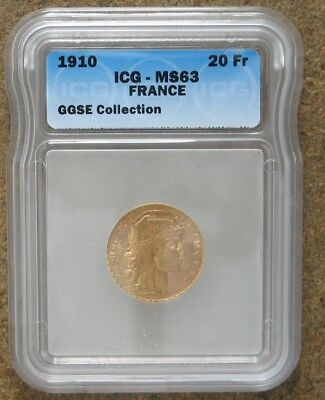 """1910 France 20 Franc Gold """"rooster"""" Coin   Icg Ms 63"""