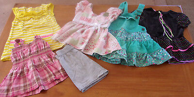 6 Piece Lot Of Toddler 3T Girls Sumer/spring Cothes Dresses / Shorts Euc