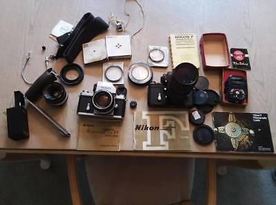 Lot of vintage Nikon cameras, lenses and accessories
