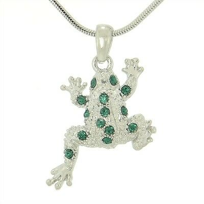"W Swarovski Crystal Frog Jungle Green Pendant Necklace Water Lily 18"" Chain Gift"