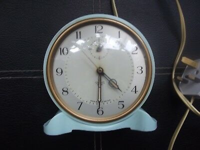 Egg blue bakelite Smiths sectric Art Deco alarm clock -Tested & working