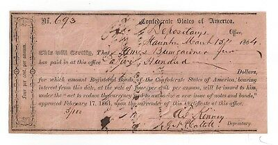 1864 Confederate States of America $500 IDR No.693 Staunton, Va James Bumgardner