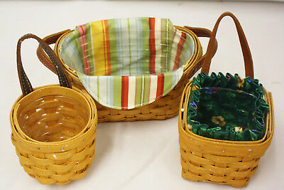 Longaberger Lot of 3 Miniature Baskets Liners & Protectors With Leather handles
