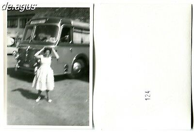 Vintage blurry Photo circa 1950s woman with Omnibus