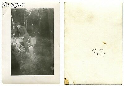 Vintage Photo circa 1940s young soldier on motorbike dkw