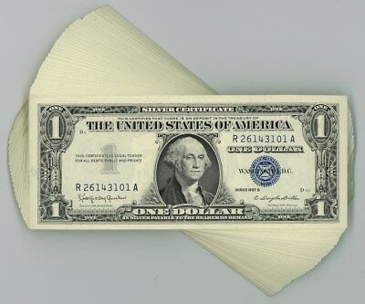 Fr. 1621 $1 1957B Silver Certificate 100 Consecutive #R26143101-200 Unc