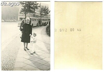 Vintage Photo circa 1950s young Woman with little boy,double decker bus,Berlin