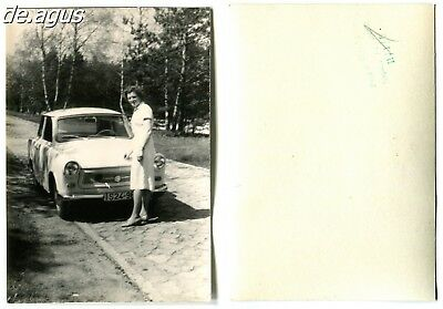 Vintage Photo circa 1960s woman with east german car Trabant