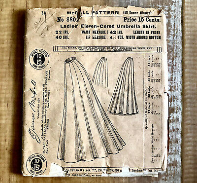 Antique Edwardian Ladies' 11-Gored Skirt1900s McCall Pattern 8801