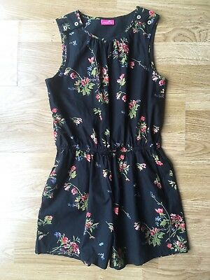 Next girls black floral patterned play suit Age 10 excellent condition