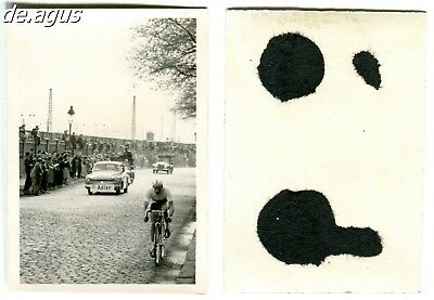 Vintage Photo circa 1960s Bicycle racing ,car with Adler Sign