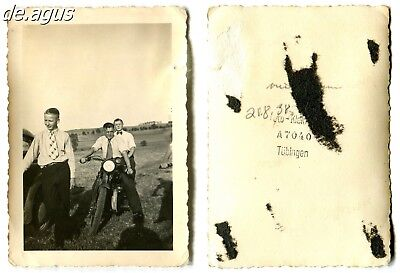 Vintage Photo from 1938 young Men,Motorbike DKW