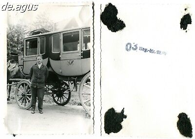 """Vintage Photo circa 1950s Man posing with horse drawn carriage """"POST"""""""