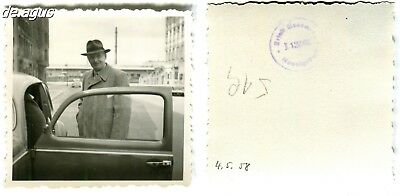 Vintage Photo from 1958 Man with Hat, vw beetle volkswagen