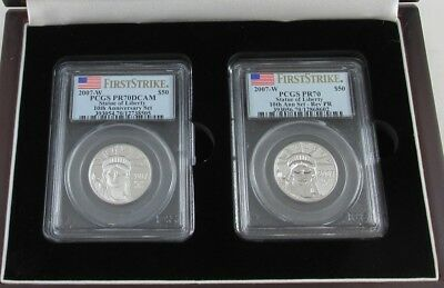 2007-W Platinum Eagle $50 10Th Anniversary Set Pcgs Pr70 Pr70Dcam First Strike