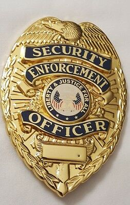 Security Enforcement Officer Guard Gold Metal Badge Shield Costume Party