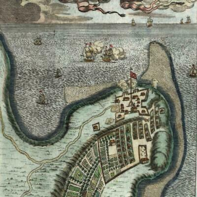 Madagascar Fort Dauphin tall ships city plan 1719 old map Mallet hand color