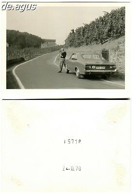 Vintage Photo from 1970 Man with opel car