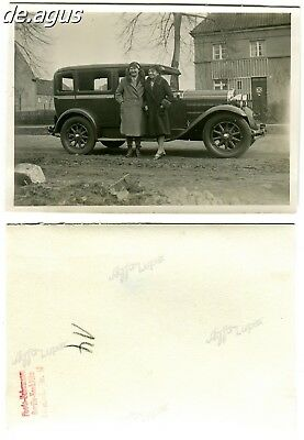 Vintage Photo circa 1930s two women with classic car