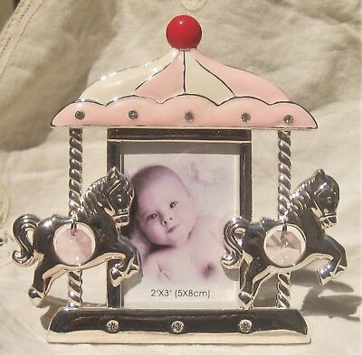 CAROUSAL silver metal baby picture frame prisms horse Pink Red & Cream Enamel