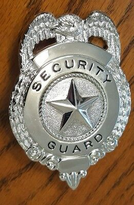Security Guard SILVER Metal Badge Shield Costume Party
