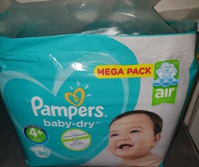 Mega pack 80 couches pampers baby dry Taille 4+