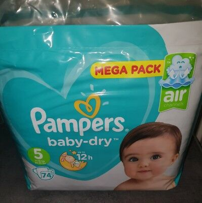 Mega pack 74 couches pampers baby dry Taille 5