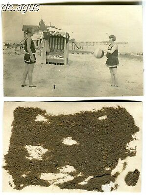 Vintage Photo circa 1930s two young women playing with beach ball,nice swimsuits