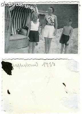 Vintage Photo from 1937 young woman with girl and cute boy,hooded beach chair