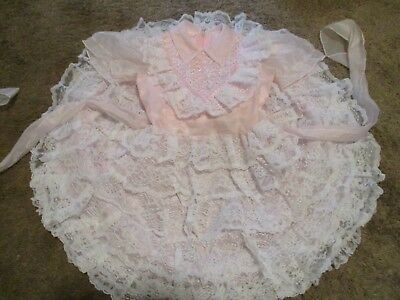Vintage Girls Party Dress Sheer Frilly Ruffles Pink White Lace Full Circle