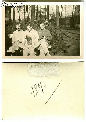 Vintage Photo circa 1940s young german soldiers sitting on bench, Men in pyjamas