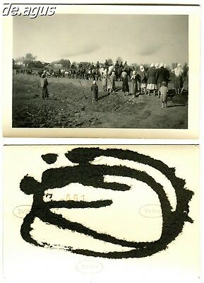 Vintage Photo 1940s young german soldiers riding horses,people ,women farmers