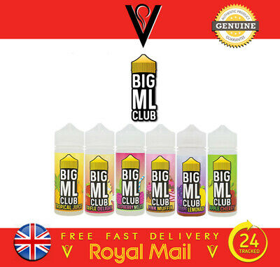 Big ML Club Ejuice 6 Premium Flavours 100ML 0mg/3mg *FREE UK SHIPPING*