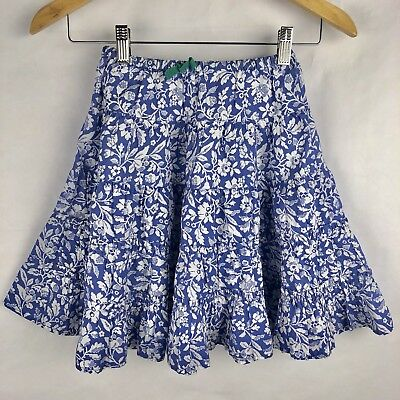 Mini Boden Girls Print Twirl Skirt Size 5-6 years Blue White Tiered Floral