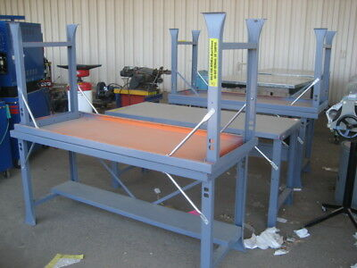 Lot of 5- Metal Work Shop Tables
