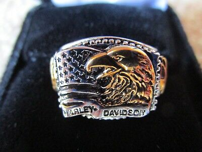 Franklin Mint Harley Davidson Patriot Eagle Silver Ring Size 11 Nice