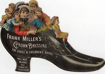 1800's Victorian  - Frank Miller's Crown Dressing - Shoe Diecut Trade Card
