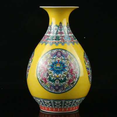 Chinese Porcelain Hand-Painted Flower Vase Mark As The Qianlong Period  R1002+a
