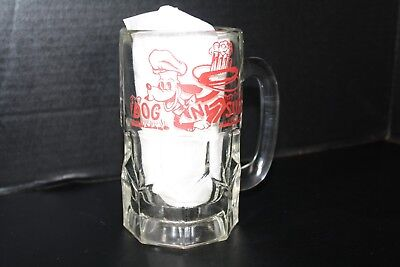 Vintage Dog N Suds Glass Mug  Hamburger Restaurant   16 Oz LARGE HEAVY
