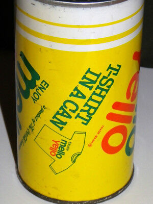 VERY RARE & UNOPENED • Mello Yello • T-Shirt In A Can • 1980's Coca-Cola Promo.