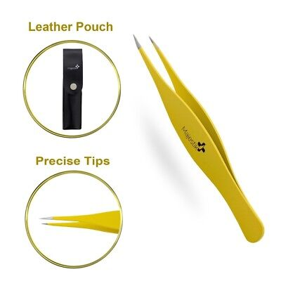 Precision Tweezers for Ingrown Hair - Best Stainless Steel Professional Pointed