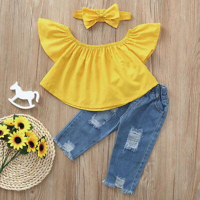 Baby Girls Kids Shirt Crop Top+Ripped Jeans Denim Pants Summer Outfits Clothes