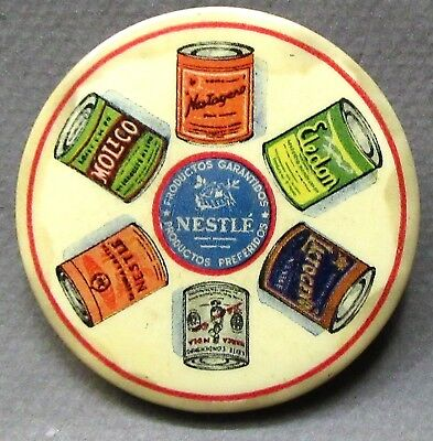 vintage NESTLE pocket mirror with 6 products illustrated FULL COLOR ^