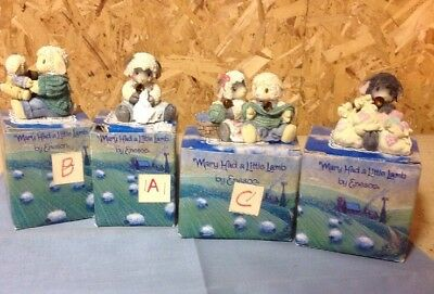 Lot Of 4 Mary Had A Little Lamb Figurines By Enesco