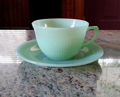 Vintage Fire-King Green Jadeite Jane Ray Cup & Saucer