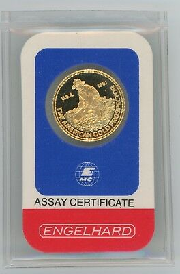 Very Rare 1981 Engelhard Prospector 1/10 oz .9999 Gold in Original Assay Cert